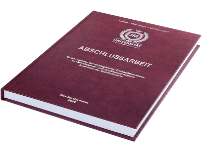 Abschlussarbeit drucken und binden lassen im Premium Hardcover bordeauxrot