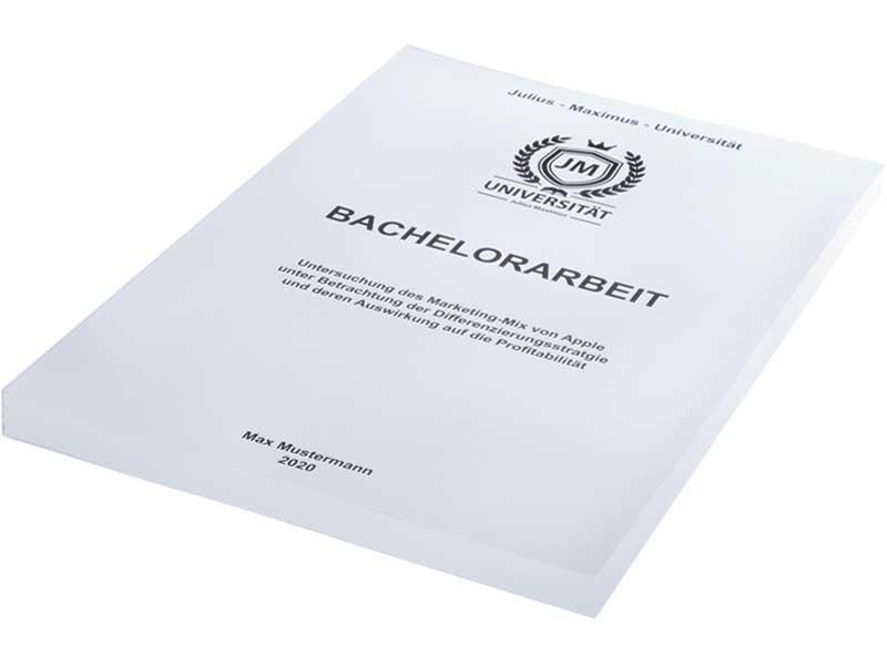 Bachelorarbeit binden mit Magazinbindung in Weiß