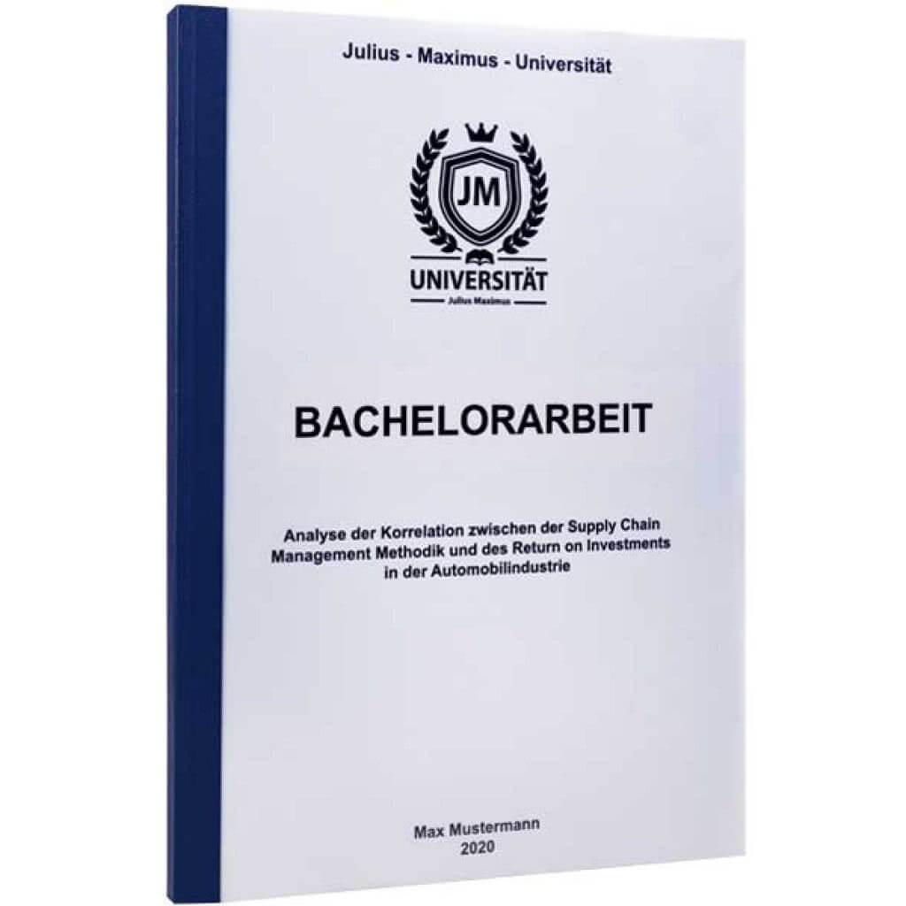 Bachelorarbeit drucken lassen in der Klebebindung dunkelblau