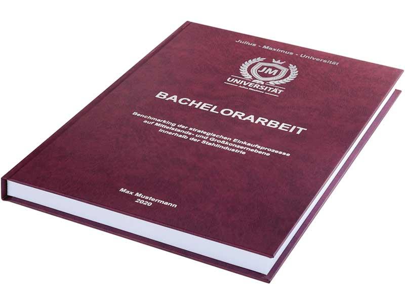 Bachelorarbeit drucken und binden lassen im Premium-Hardcover bordeauxrot
