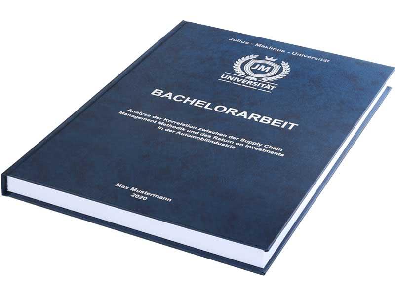 Bachelorarbeit drucken und binden lassen im Premium-Hardcover dunkelblau
