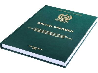 Bachelorarbeit drucken und binden lassen im Premium-Hardcover grün