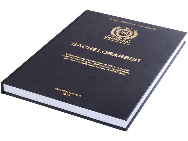 Bachelorarbeit drucken und binden lassen im Premium-Hardcover schwarz