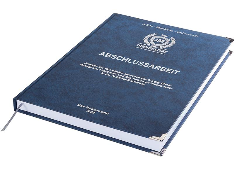 Premium Hardcover-Bindung dunkelblau liegend