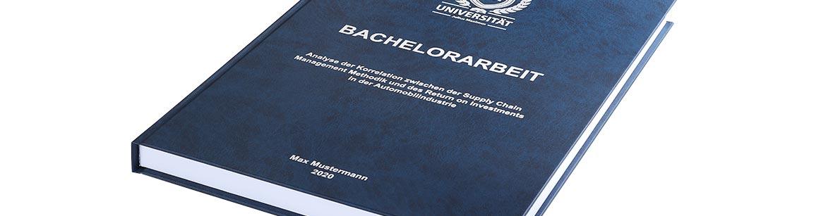 Premium Hardcover-Bindung in Blau für Studienarbeiten