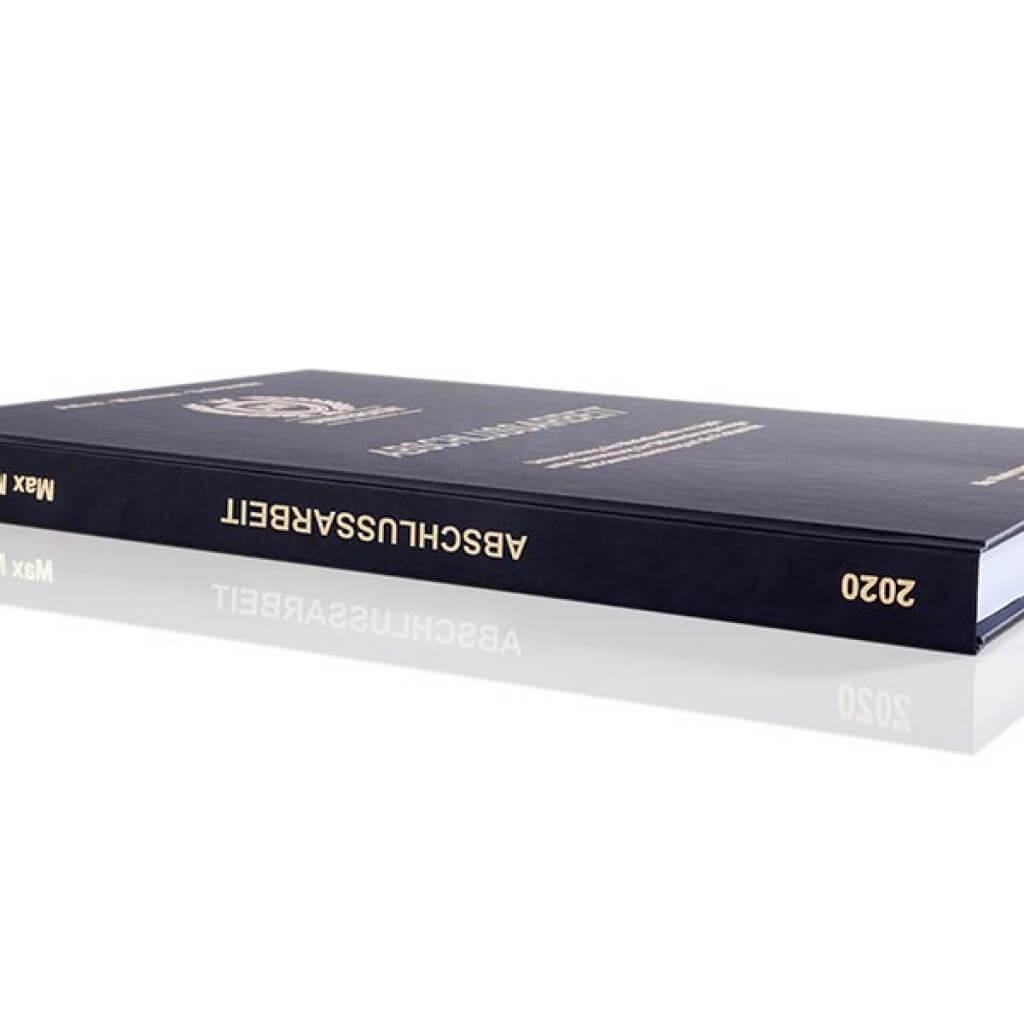 Premium Hardcover-Bindung schwarz Buchrücken-Perspektive