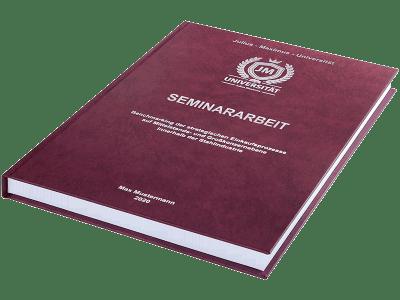 Seminararbeit drucken und binden lassen im Premium Hardcover bordeauxrot