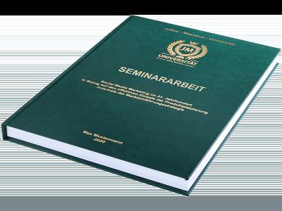 Seminararbeit drucken und binden lassen im Premium Hardcover dunkelgrün