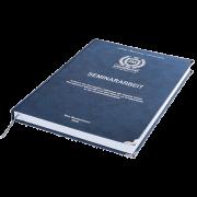 Seminararbeit drucken und binden mit der Premium Hardcover Bindung dunkelblau liegend