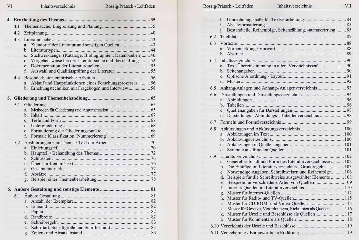 Inhaltsverzeichnis Vorlagen Für Die Bachelorarbeit