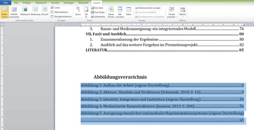 Eingefügtes Abbildungsverzeichnis in Word