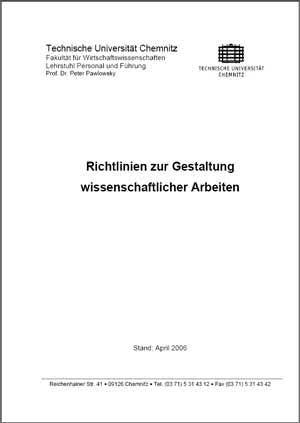 TU Chemnitz -Richtlinien zur Gestaltung wissenschaftlicher Arbeiten mit Abbildungsverzeichnis