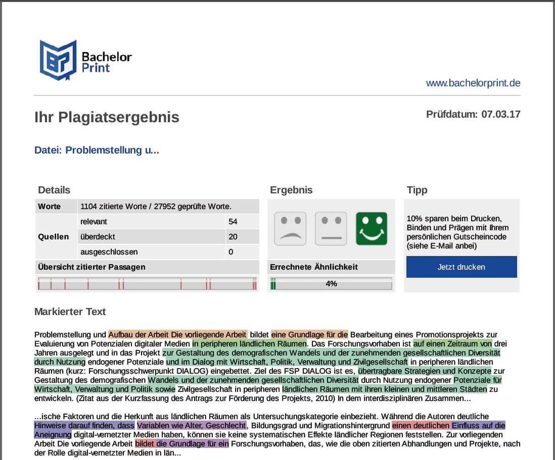 Beispiel Plagiatsreport nach dem Plagiat-Check online