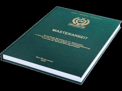 Masterarbeit drucken und binden lassen im Premium Hardcover dunkelgrün