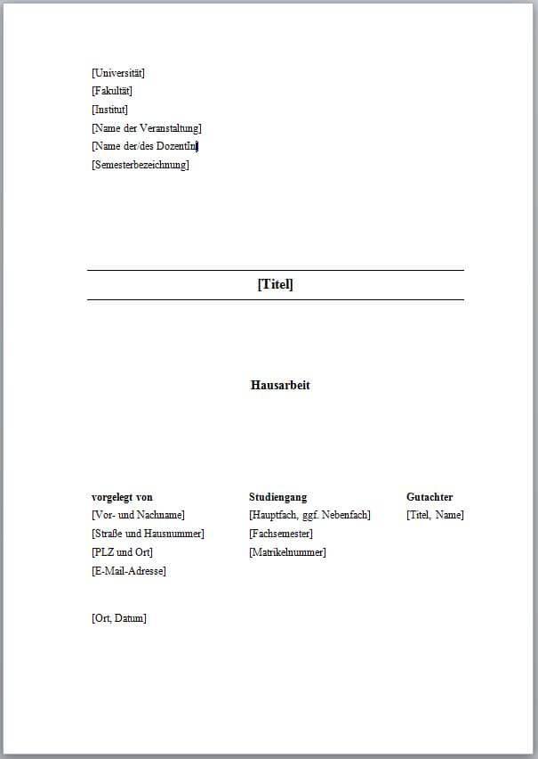 Deckblatt Gestalten Bachelorarbeit Hausarbeit
