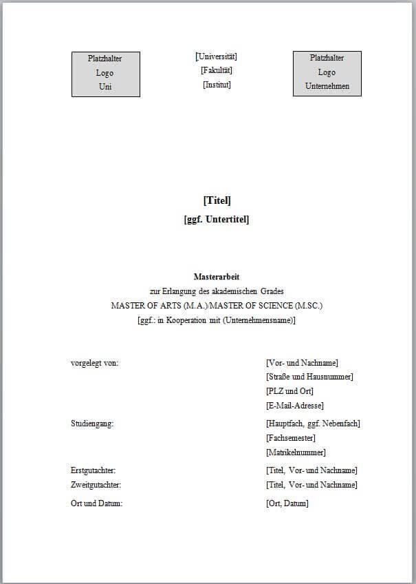 DECKBLATT GESTALTEN | Bachelorarbeit & Hausarbeit