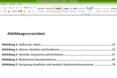 Abbildungsverzeichnis für die Seminararbeit erstellen