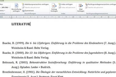 Literaturverzeichnis für die Seminararbeit erstellen