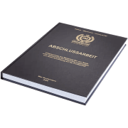 Abschlussarbeit binden lassen im Standard Hardcover liegend