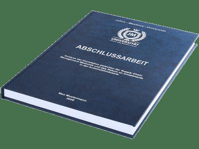 Abschlussarbeit drucken und binden lassen im Premium Hardcover dunkelblau