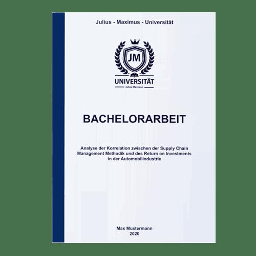 Bachelorarbeit drucken lassen mit der Klebebindung blau frontal