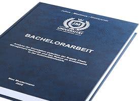 Bachelorarbeit mit Hardcover-Bindung blau