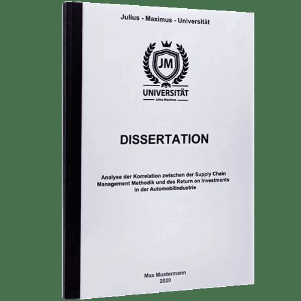 Dissertation drucken lassen mit der Klebebindung schwarz
