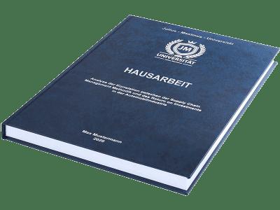 Hausarbeit drucken und binden lassen im Premium Hardcover dunkelblau