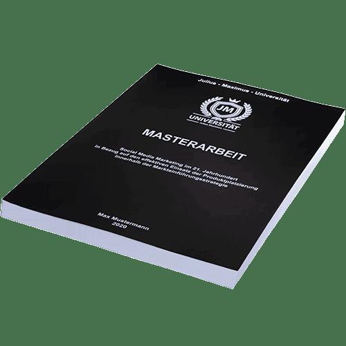 Masterarbeit binden mit der Magazinbindung schwarz liegend