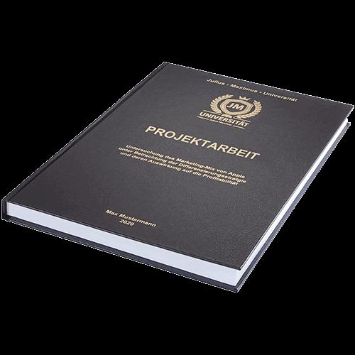 Projektarbeit binden lassen im Standard Hardcover liegend