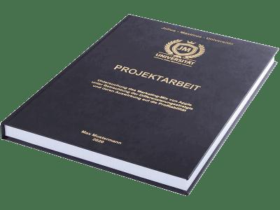 Projektarbeit drucken und binden lassen im Premium Hardcover schwarz