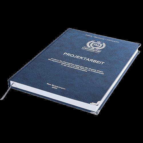 Projektarbeit drucken und binden mit der Premium Hardcover Bindung dunkelblau liegend