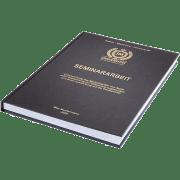 Seminararbeit binden lassen im Standard Hardcover liegend