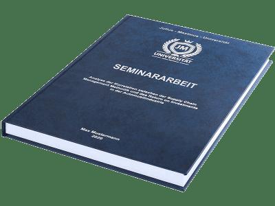 Seminararbeit drucken und binden lassen im Premium Hardcover dunkelblau