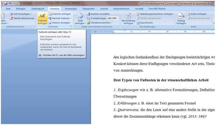 Fußnoten setzen in Word für Facharbeit und Hausarbeit: Schritt 2