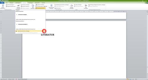 Automatisches Literaturverzeichnis einfügen in Word-1