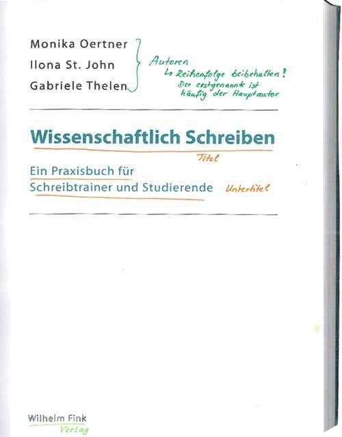 Literaturangabe auf derTitelseite eines Buchess