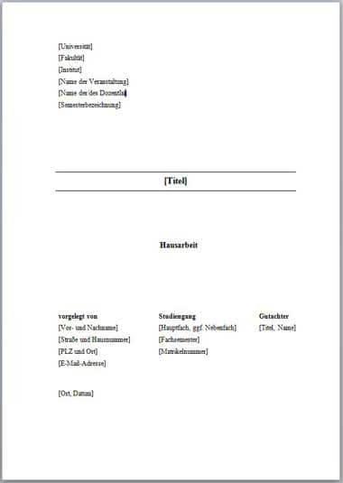 Deckblatt Zur Hausarbeit 10 Tipps 5 Vorlagen 9