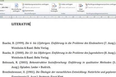 Literaturverzeichnis für die Dissertation erstellen