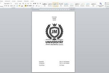 Deckblatt für die Seminararbeit gestalten