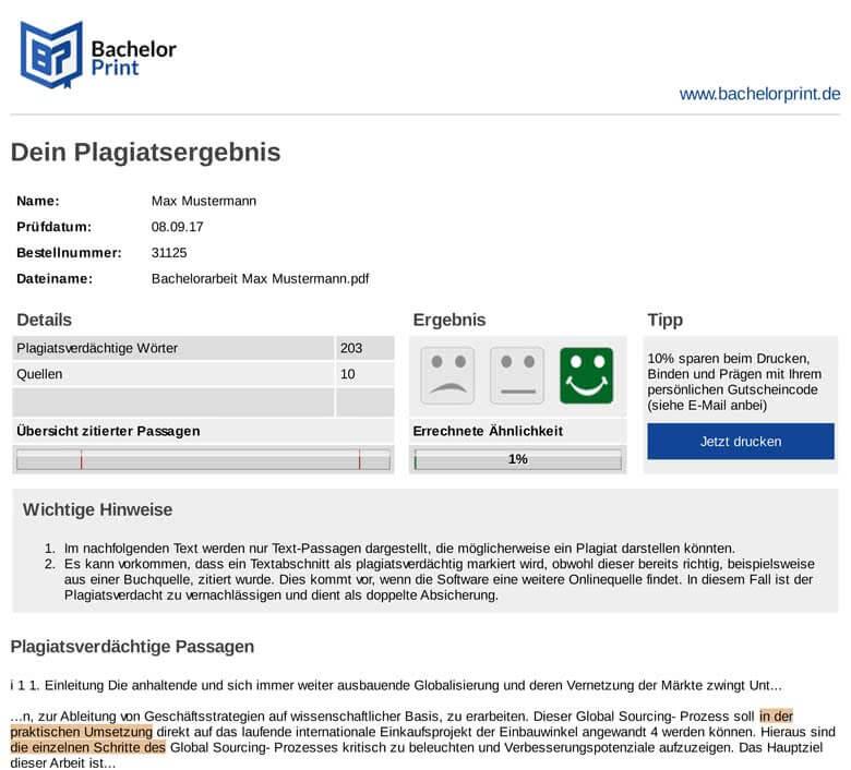 Beispiel Plagiatsreport nach Plagiat-Check online