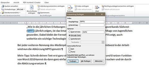 Indexeintrag Abkürzungsverzeichnis in Word