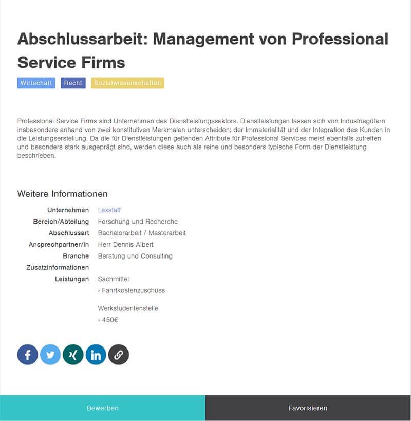 Bachelorarbeit im Unternehmen Datenbank Detailseite