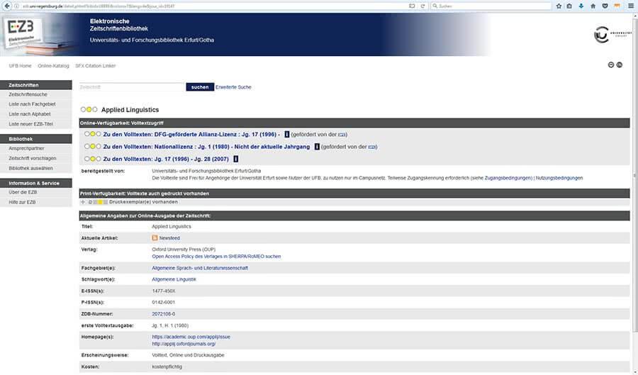 Beispiel EZB Internetrecherche