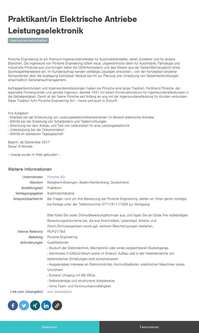 Beispiel Jobbörse Absolventen Detailseite