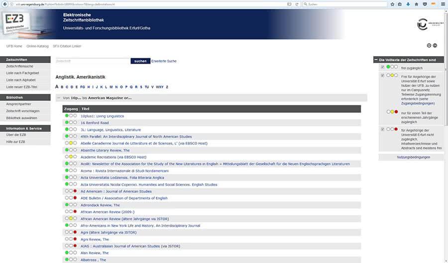 Internetrecherche nach EZB Fachgebiet