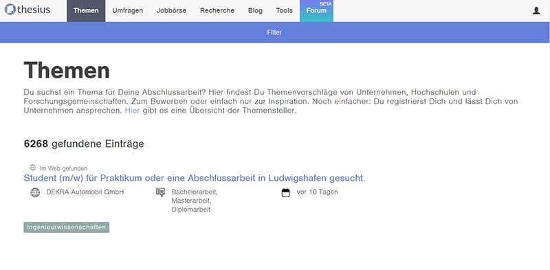 Thesius Themendatenbank für die Bachelorarbeit im Unternehmen