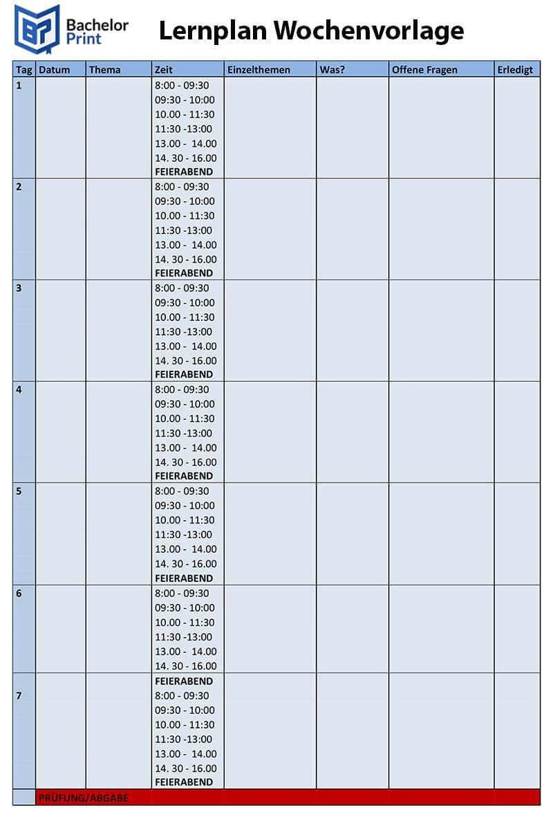 LERNPLAN erstellen fürs Studium ~ Vorlagen & Tipps