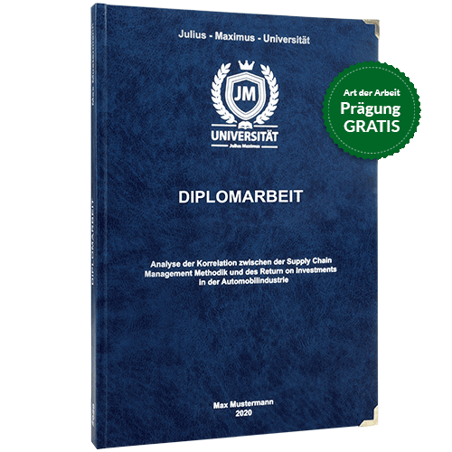 Diplomarbeit drucken und binden im Premium Hardcover dunkelblau - Prägung gratis