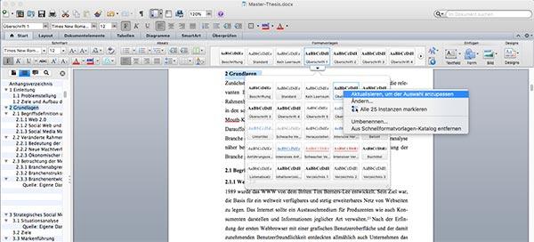 Überschrift formatieren Word Inhaltsverzeichnis Mac